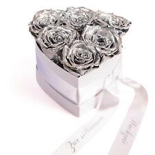 Silberhochzeit Geschenk Infinity Rose silber Rosenbox Blumen Herzform Brautpaar