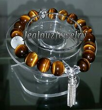925 Sterling Silver Healing Power Chakra A Tiger Eye Yoga Mala Gemstone Bracelet