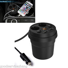 2 Socket Cigarette Lighter Splitter 3.1A Dual USB Car Charger Adapter LEDLighter