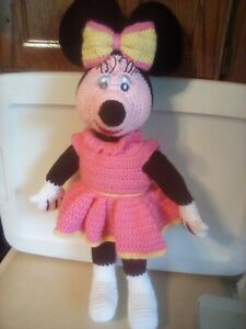 """Handmade Knitted/Crocheted Minnie Mouse Plush  22"""" Doll"""