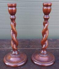 Pair of Vintage Oak Barley Twist Candlesticks (h:25cm)