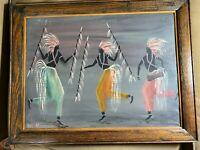 """Vintage Dejack """"Dancing Female Figures Scene"""" Oil Painting - Signed And Framed"""