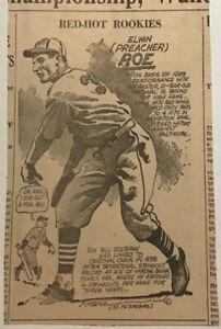 1940 newspaper panel - Elwin (Preacher) Roe St. Louis Cardinals, Red Hot Rookies