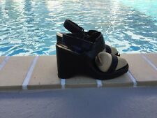 GUCCI BLACKISH BROWN LEATHER WEDGE PLATFORM SANDALS Sz 8B MADE IN ITALY