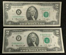 1976 $2 FRN Star Notes (2) Rough condition(see Below)no tears rips holes errors