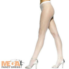 White Fishnet Tights Ladies Fancy Dress Sexy Hosiery Burlesque Costume Accessory