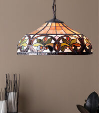 """Tiffany Style Hanging Ceiling Lamp Fixture Cut Stained Glass Shade 12"""" H x 18"""" D"""