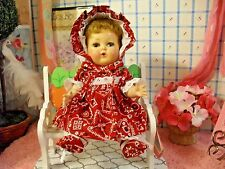 """DOLL CLOTHES fit 11.5"""" TINY TEARS BANDANNA DRESS BONNET PANTIES BOOTIES by SSO"""