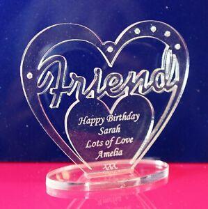 Personalised 'Friend' Birthday Gift Heart with message -  Freestanding Keepsake