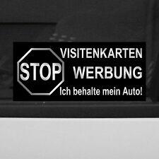 2 Aufkleber Sticker STOP Visitenkarten Werbung ich behalte mein Auto Nix Verkauf