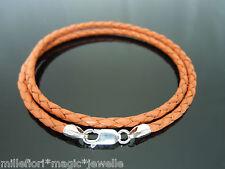 "3mm Orange Braided Leather Sterling Silver Necklace Or Bracelet 16"" 18"" 20"" etc"