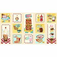"24"" Fabric Panel - Wilmington Prints At the Diner 1950s Food Blocks Cream"