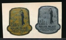EDDIE'S  ROLLER PALACE Two Original 1940s Skating Stickers ROCHESTER, NY