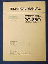 ROTEL RC-850 TECHNICAL SERVICE MANUAL FACTORY ORIGINAL ISSUE THE REAL THING