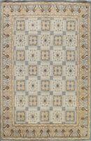 Geometric Hand-knotted Khotan Vegetable Dye Area Rug Wool Oriental Carpet 8'x10'