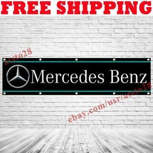 Mercedes Benz Logo Banner Flag 2x8 ft Car Show Garage Wall Decor Sign 2021 NEW