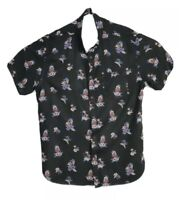 Quicksilver Black Floral Hawaiian Men's Short Sleeve Shirt Size L