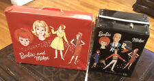 2 VTG 1964 Barbie Midge and Ken Black+Red Vinyl Travel Case RETRO Mattel SPP Set