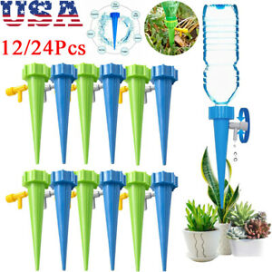 Garden Plant Watering Spikes with Slow Release Control Valve Switch Indoor and Outdoor Automatic Irrigation Watering Spikes Nilos 24 PCS Self Watering Spikes