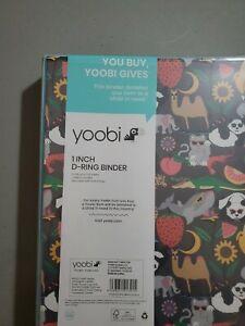 Yoobi Charcoal Stacks On Animals 1 Inch D Ring Hardback Binder 220 Sheets