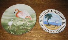 New Listing2 Collector Plates:Danbury Mint Waterbird Flamingo & Florida Hand Painted Japan