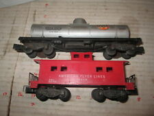 S scale American Flyer 24325 Gulf Tank car, 24610 Caboose as is.