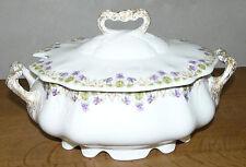 Soupière ancienne en porcelaine vieux Limoges décors petites violettes 2 litres