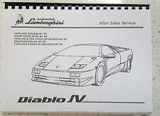 LAMBORGHINI DIABLO SV PARTS MANUAL 1999 ONWARDS REPRINTED