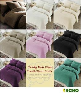 New Teddy Bear Fleece Duvet Quilt Cover Extra Warm Bedding Set With Pillowcases