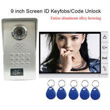 "9"" Monitor Video Door Phone Doorbell Aluminum Alloy Camera RFID Keyfob Password"