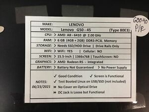 Lenovo G50-45 *Parts/Repair* A8/6GB/BATT(not guaranteed) - No OS/HDD/CHRG
