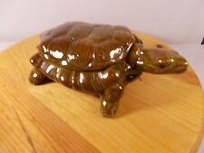 "VINTAGE ARNEL'S 9x3"" BROWNIS GREEN TURTLE CERAMIC PLANTER WITH LID"