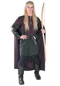 "Legolas Costume ""Lord Of The Rings"" 5 Pc Tunic Hooded Cloak Belt Boot Tops STD"