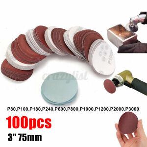 100pc 75mm 3'' Sanding Discs Pads Sandpaper Sander Hook & Loop 80-3000 GRIT ↭