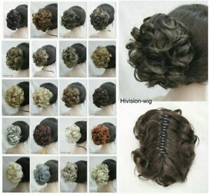 Ladies Cospplay Short Curly Wavy Claw Clip Ponytail Hair Pieces Wig 22 Colors