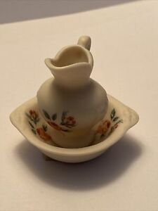 Vintage Dollhouse Miniature Dresden Rose Floral Wash Bowl Set Porcelain