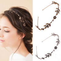 Women Rose Leaf Shiny Rhinestone Headband Hairband Jewelry Metal Hair Hoop c▔