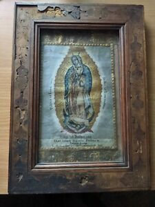 Antique - Our Lady of Guadalupe - Wooden Frame, Wooden Backing