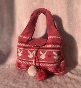 Cute Vintage 90's 00's Pink Playboy Bag Knitted Wool Y2K Mini Bag