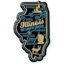 Illinois the Land of Lincoln Deluxe State Map Fridge Magnet