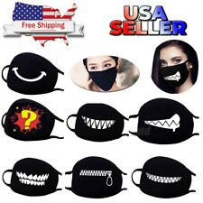 Cartoon Funny Face Mask Unisex Teeth Mouth Cover Black Cotton Printed Washable~