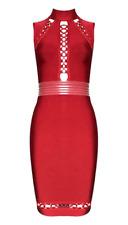 BCBG MaxAzria Faux Leather detail Bandage Cocktail Dress Red C13  *L