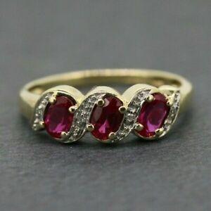 9ct Yellow Gold Ruby & Diamond Three Stone Ring Size N