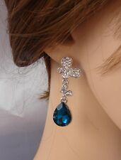 farfalla orecchini Argento blu  Strass,zircone,cristalli ,Da Donna, idea regalo