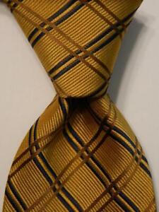 ANDREW'S TIES Mens Silk Necktie ITALY Designer PLAID/CHECK Yellow/Blue/Brown EUC