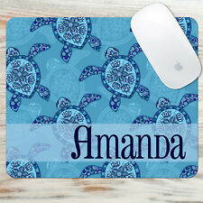 Monogrammed Mouse Pad Blue Turtles Personalized Monogram Rectangle or Round