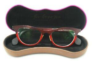 THEO MILLE +59 Pure Titanium Metal RED Women's Cat Eye Eyeglasses Frames BELGIUM