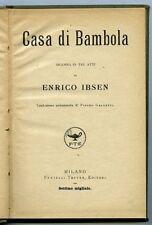 Casa di bambola - Enrico Ibsen. Fratelli Treves 1924. 110 pp, copertina non