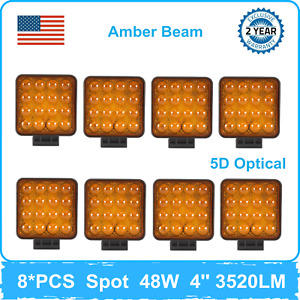 8X 48W 4inch LED Spot Beam Work Lights Yellow 5D+ Car Ford Wrangler Silverado