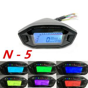 12V Multicolor Digital LCD Motorcycle Speedo Tachometer Display N-5 Gear Fuel Lv